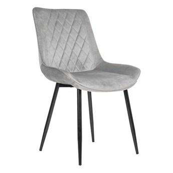Krzesło tapicerowane jasnoszare ▪️ BELINI (DC-6020) ▪️ welurowe