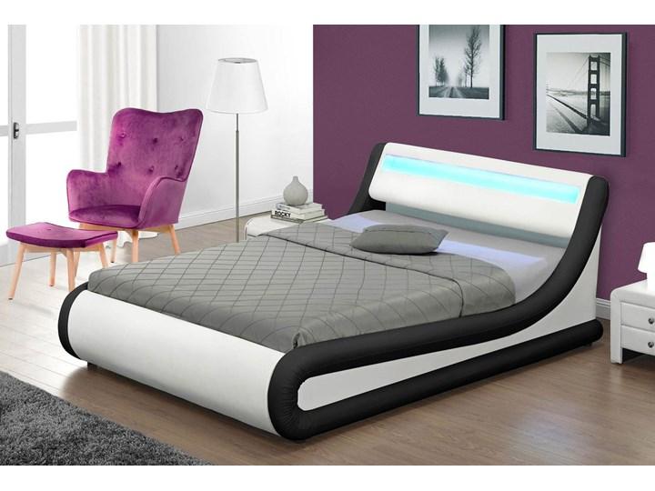 Łóżko z pojemnikiem 180x200 - COMO (138) LED biało-czarne ekoskóra