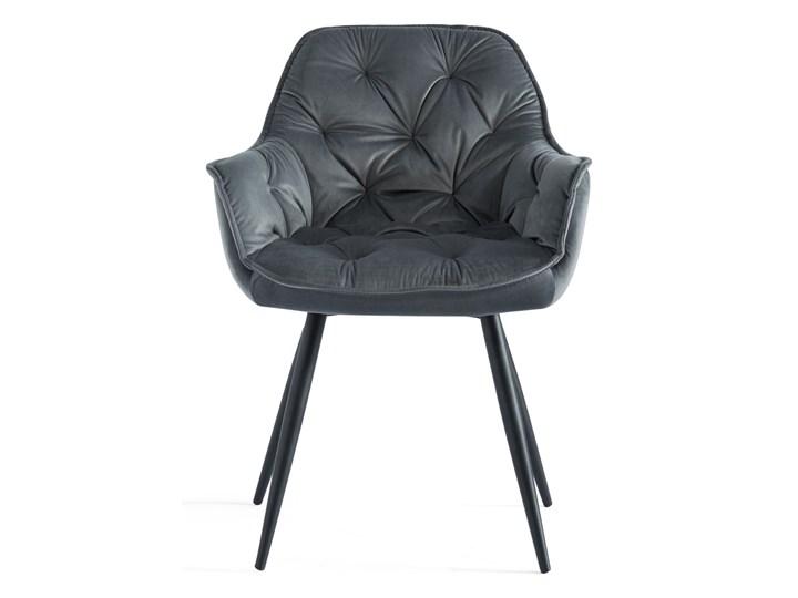 KRZESŁO TAPICEROWANE ▪️ BEN (DC-9220) ▪️ WELUR 10 Stal Z podłokietnikiem Metal Pomieszczenie Salon Tworzywo sztuczne Pikowane Tkanina Kategoria Krzesła kuchenne