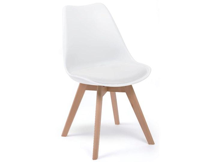 NOWOCZESNE KRZESŁO 53E-7 BIAŁE, NOGI DREWNO Tworzywo sztuczne Kolor Biały Kategoria Krzesła kuchenne