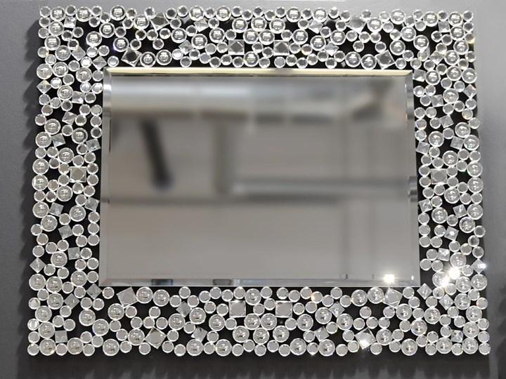 Lustro z  kryształkami Espello Glamur 80 x 100 Prostokątne Ścienne Kolor Srebrny Lustro z ramą Pomieszczenie Przedpokój