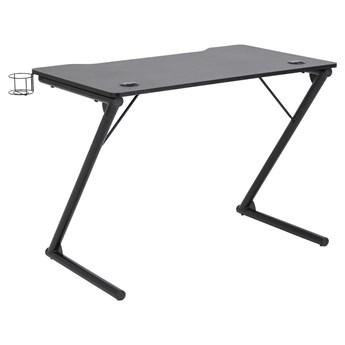 Czarne biurko gamingowe z przepustnicą na kable Smet