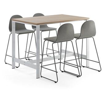 Zestaw mebli VARIOUS + GANDER, stół i 4 krzesła barowe, szarozielony