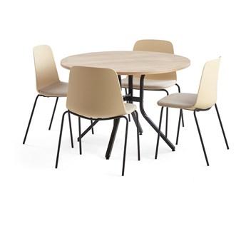 Zestaw mebli VARIOUS + LANGFORD, stół i 4 krzesła żółty
