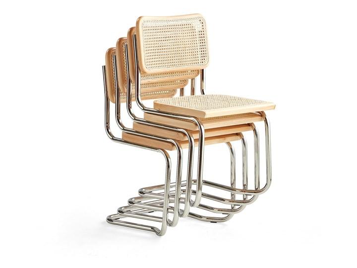 Krzesło rattanowe VICTORIA, 4 szt. Drewno Tradycyjne Krzesło inspirowane Pomieszczenie Jadalnia Stal Metal Styl Vintage