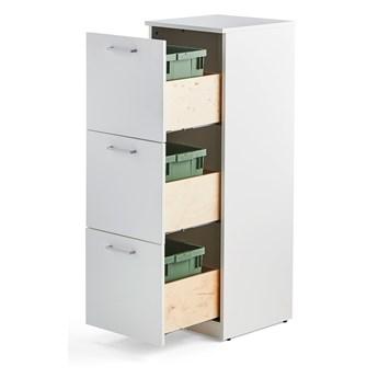 Szafka do segregacji śmieci FAHRENHEIT, 3 szuflady, biały, 3 pojemniki 21 L