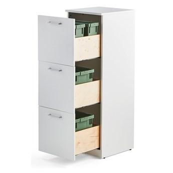 Szafka do segregacji śmieci FAHRENHEIT, 3 szuflady, biały, 2 pojemniki 21 L, 2 pojemniki 10 L