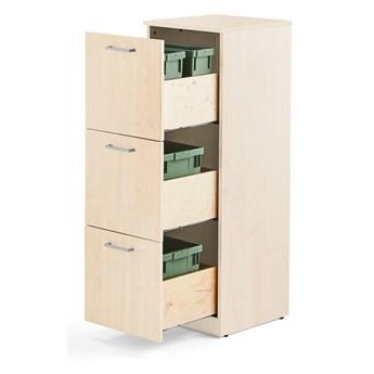 Szafka do segregacji śmieci FAHRENHEIT, 3 szuflady, brzoza, 2 pojemniki 21 L, 2 pojemniki 10 L