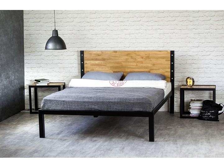 """Łóżko drewniane z ramą metalową """"Kori"""" z jednym szczytem Łóżko metalowe Pojemnik na pościel Bez pojemnika"""