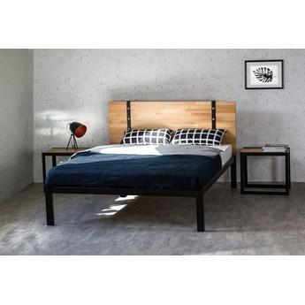 """Łóżko drewniane z ramą metalową """"Akira"""" z jednym szczytem"""