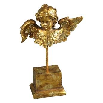 FIGURKA DEKORACYJNA ANIOŁ Z TRĄBKĄ NA POSTUMENCIE ANGEL GOLD H31CM