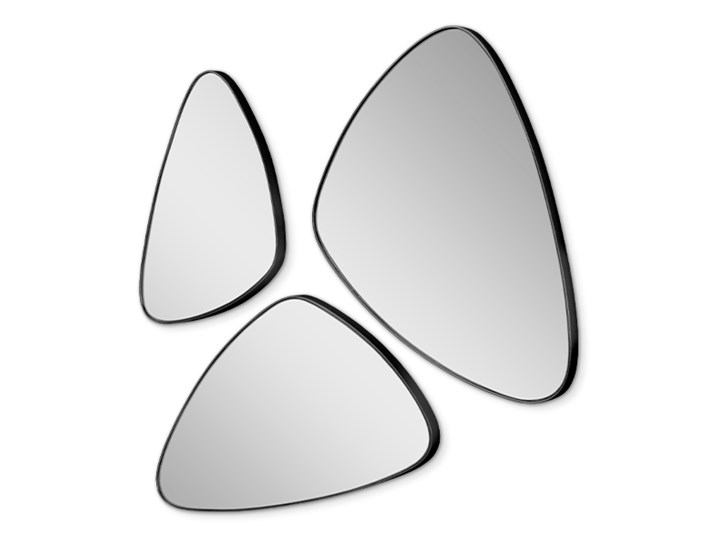 Komplet 3 trójkątnych zaokrąglonych luster w czarnej ramie 16F-573