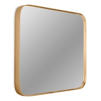 Kwadratowe zaokrąglone lustro w złotej oprawie  40,5 x 40,5 cm 16F-571
