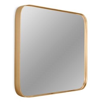 Kwadratowe zaokrąglone lustro w złotej oprawie  50,5 x 50,5 cm 16F-571