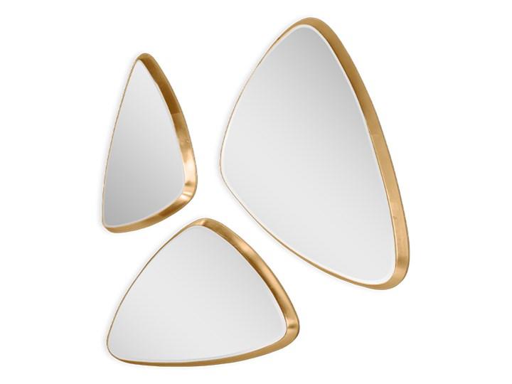 Komplet 3 trójkątnych luster w złotej oprawie 15F-543 Pomieszczenie Salon Nieregularne Lustro z ramą Ścienne Kolor Złoty