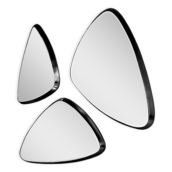 Komplet 3 trójkątnych luster w czarnej oprawie 15F-543