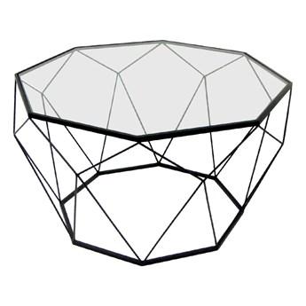 Geometryczny czarny metalowy stolik szklany blat Ø 74 x 42 cm TOYJ19-653