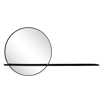 Czarne metalowe lustro z półką 110 x 10 x 55,5 cm TOYJ19-371