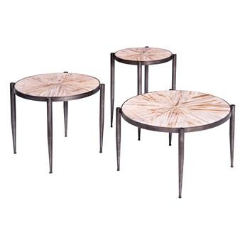 Okrągły stolik kawowy drewniany blat Ø 48 x 45 cm TOY69-2427