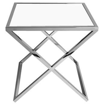 Biały stalowy stolik ze skrzyżowaną podstawą 50 x 50 cm JJ1020