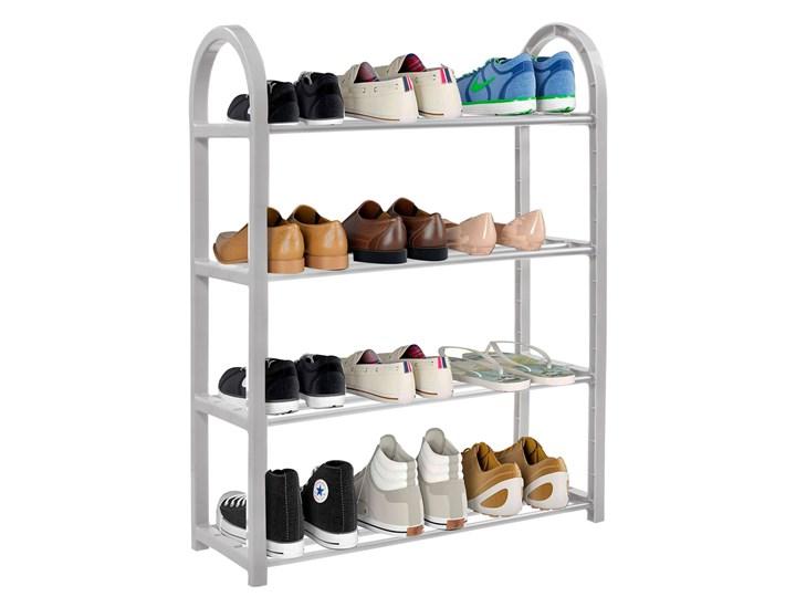 Szafka na buty z metalowymi 4 półkami regał szary Tworzywo sztuczne Pomieszczenie Przedpokój Kategoria Szafki i regały