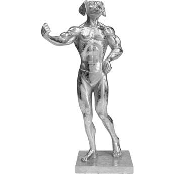 Figurka dekoracyjna Muscle Dog 18x43 cm srebrna