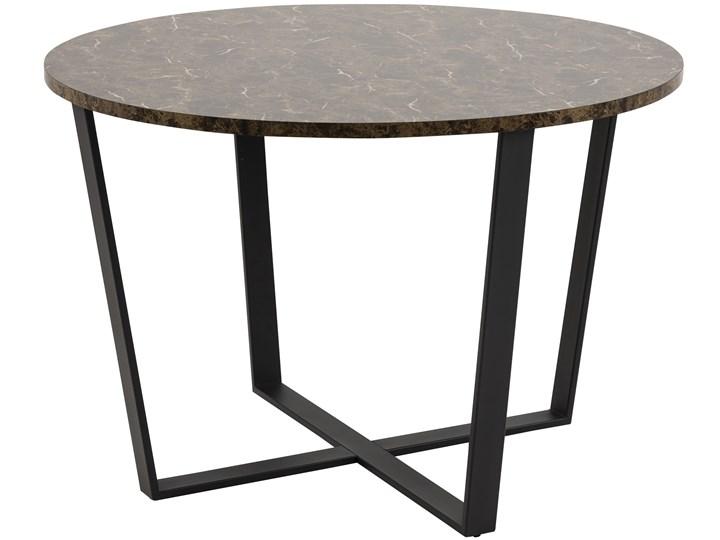 Stół Hagley Ø110 cm brązowy Styl Nowoczesny Wysokość 75 cm Drewno Szerokość 75 cm Metal Marmur Kształt blatu Okrągły