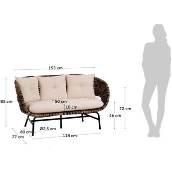 Sofa Lin 2 os. 149 cm naturalno-czarna