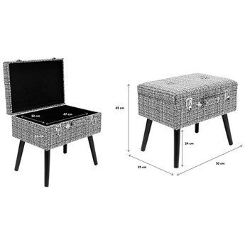 Podnóżek Suitcase 50x45 cm czarno-biały