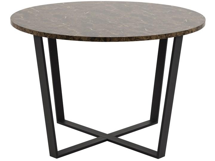 Stół Hagley Ø110 cm brązowy Metal Szerokość 75 cm Drewno Kształt blatu Okrągły Marmur Wysokość 75 cm Styl Industrialny