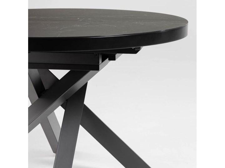 Stół rozkładany Vashti ∅120-160x76 cm szary Stal Płyta MDF Szkło Marmur Długość 160 cm  Szerokość 120 cm Długość 120 cm  Ceramika Styl Minimalistyczny
