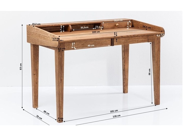 Sekretarzyk Attento 118x70 cm drewniany Drewno Szerokość 118 cm Kolor Brązowy