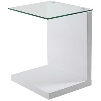 Stolik kawowy Faraldo 40x35 cm biały blat szklany