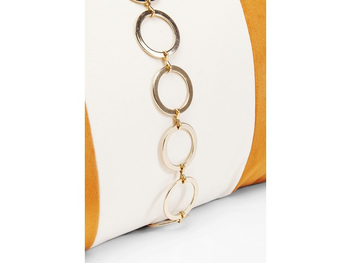 Poduszka dekoracyjna Classy Rings 50x28 cm pomarańczowa Aksamit 28x50 cm Poszewka dekoracyjna Poliester Prostokątne Pomieszczenie Salon