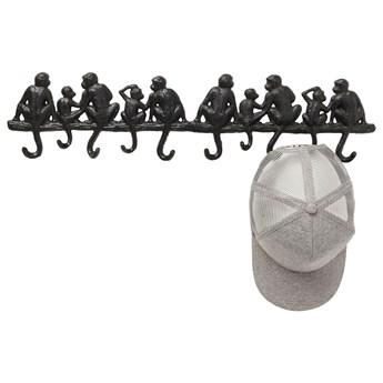 Wieszak ścienny Monkey Family 10 haczyków czarny