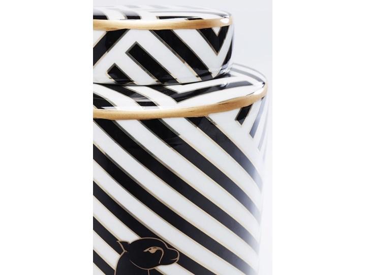 Słoik dekoracyjny Panther Ø15x25 cm czarno-biały Kolor Czarny