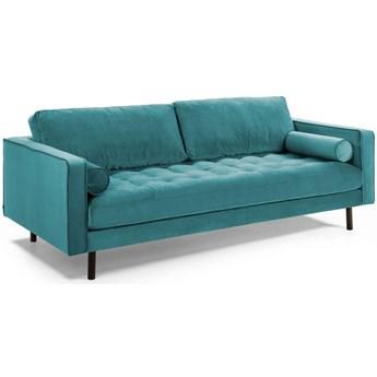 Sofa 3-osobowa Debra z turkusowego aksamitu 222 cm