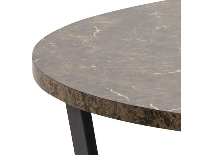 Stół Hagley Ø110 cm brązowy Metal Szerokość 75 cm Styl Nowoczesny Wysokość 75 cm Marmur Drewno Pomieszczenie Stoły do jadalni