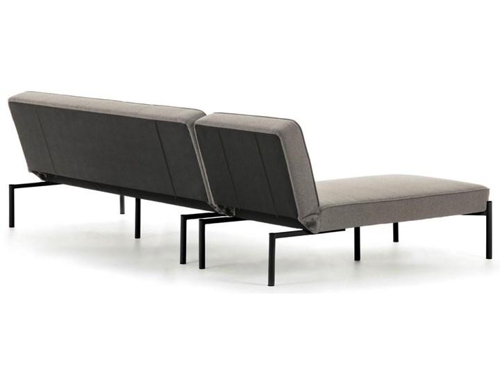 Rozkladana sofa i szezlong Nelki w kolorze szarym Stała konstrukcja Nóżki Na nóżkach Styl Nowoczesny