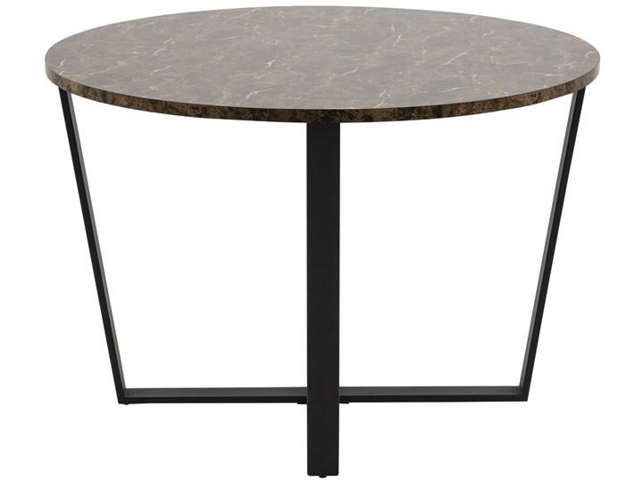 Stół Hagley Ø110 cm brązowy Wysokość 75 cm Marmur Metal Szerokość 75 cm Styl Industrialny Drewno Pomieszczenie Stoły do jadalni