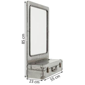 Lustro wiszące ze schowkiem Suitcase 55x85 cm srebrne