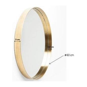 Lustro wiszące Curve Round ∅60 cm mosiężne