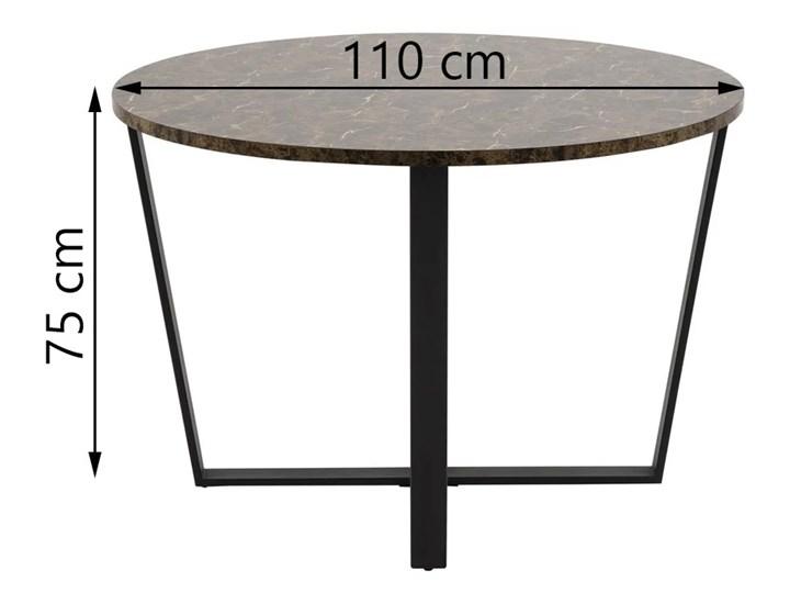 Stół Hagley Ø110 cm brązowy Wysokość 75 cm Metal Szerokość 75 cm Marmur Drewno Styl Industrialny