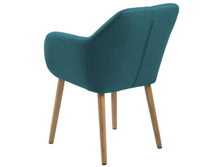Krzesło Emilia 57x83 cm petrol nogi drewniane Wysokość 66 cm Z podłokietnikiem Tapicerowane Głębokość 23 cm Tkanina Wysokość 57 cm Drewno Głębokość 61 cm Pomieszczenie Jadalnia