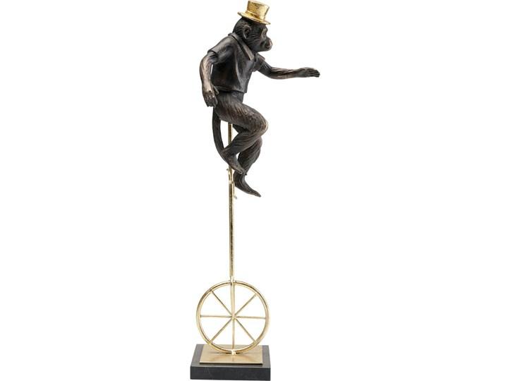 Figurka dekoracyjna Circus Monkey 14x48 cm złota Tworzywo sztuczne Marmur Metal Kolor Biały