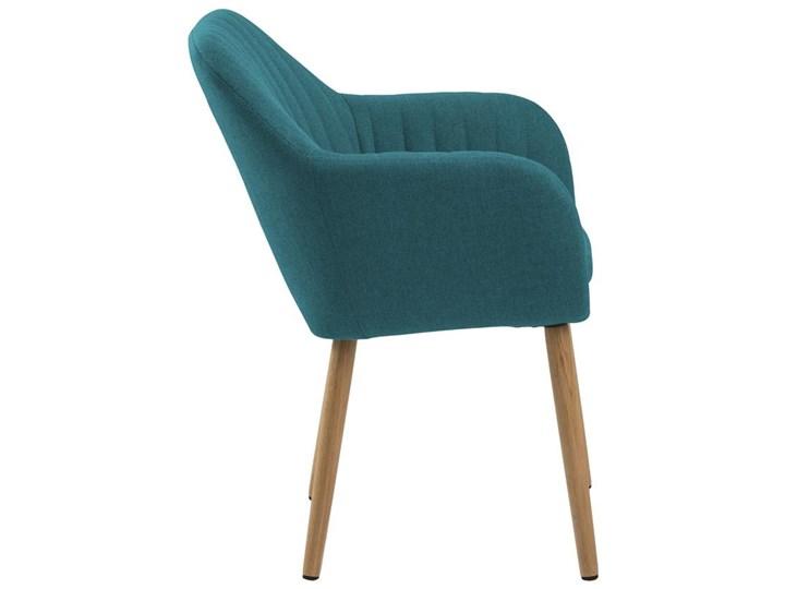Krzesło Emilia 57x83 cm petrol nogi drewniane Wysokość 66 cm Drewno Wysokość 57 cm Głębokość 61 cm Tkanina Tapicerowane Z podłokietnikiem Głębokość 23 cm Styl Skandynawski