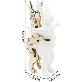Figurka dekoracyjna Hugging Rabbits 15x25 cm biało-złota