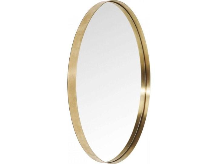 Lustro wiszące Curve Round ∅100 cm mosiężne Lustro z ramą Okrągłe Ścienne Styl Nowoczesny