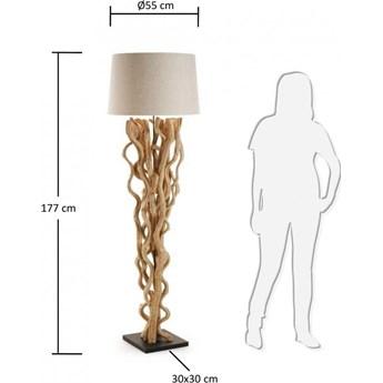 Lampa podlogowa Nuba z drewna winorosli z bialym abazurem