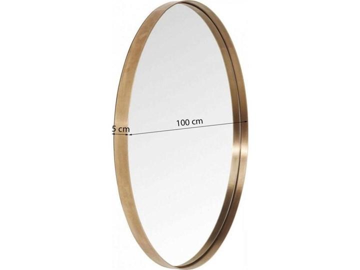 Lustro wiszące Curve Round ∅100 cm miedziane Lustro z ramą Ścienne Okrągłe Pomieszczenie Sypialnia